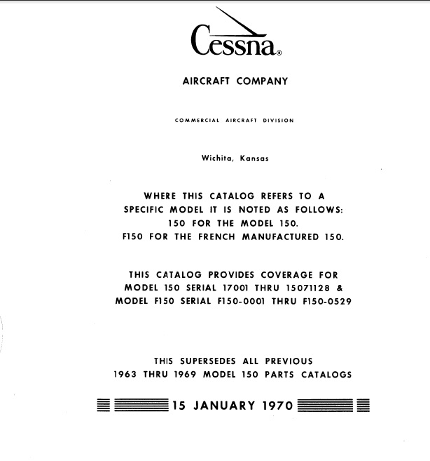 Cessna Model150 Series 1963-1969 Illustrated Parts Catalog