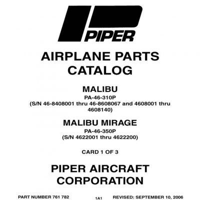 Piper PA-46-500TP Malibu Meridian Parts Catalog Manual
