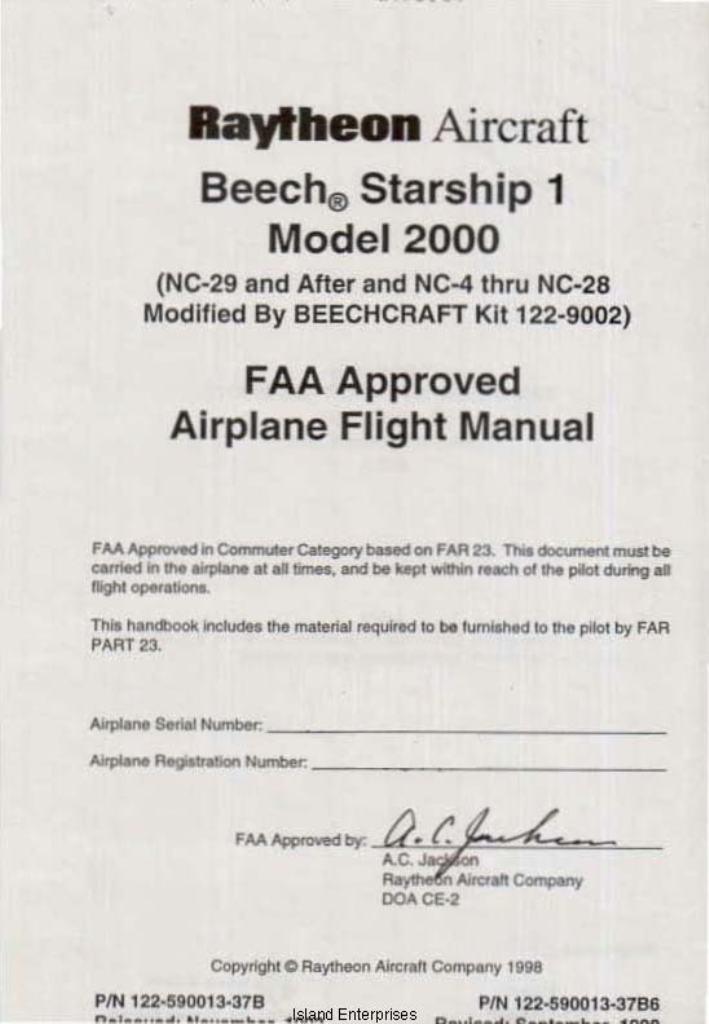 beech starship 1 model 2000 airplane flight manual 1993 1999 rh eaircraftmanuals com airplane flight manual limitation c-series airplane flight manual b737