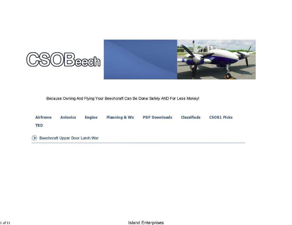 Beechcraft Cso Upper Door Latch Replacement Manual
