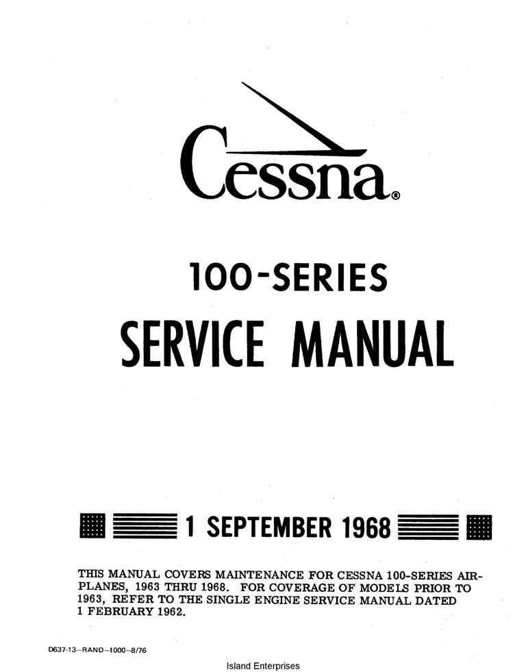 Cessna Model 100 Series Service Manual (1963 thru 1968)