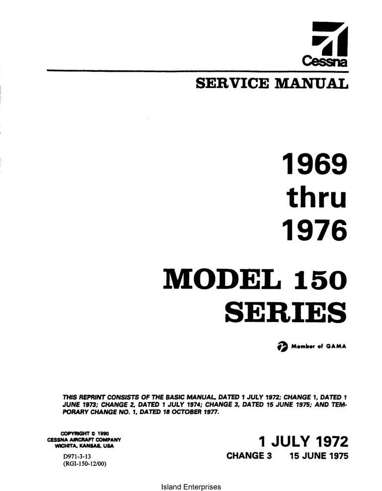Cessna Model 150 Series 1969 thru 1976 Service and Maintenance Manual