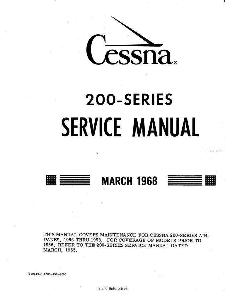Cessna Model 200 Series 1966 thru 1968 Service Manual 1968