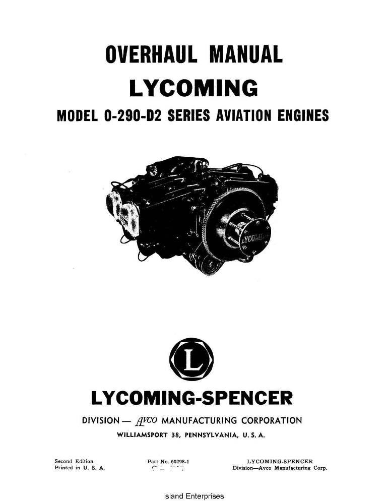 Lycoming Overhaul Manual 60298 1 O 290 D2