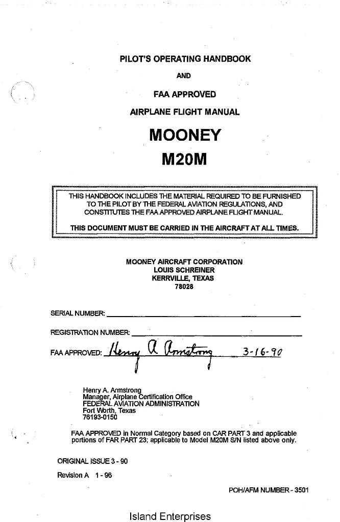 Mooney M20M 3501A Pilots Operating Handbook 1990