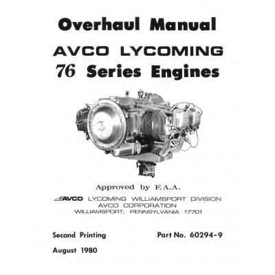 Lycoming Overhaul Manual 60294 9 2 76 Series Engines O 320H O LO 360 E