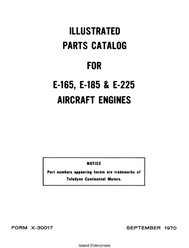 Continental Parts Catalog X-30017 E-165, E-185 & E-225