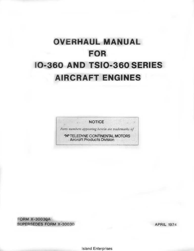 K L /& M Continental Overhaul Manual O-470