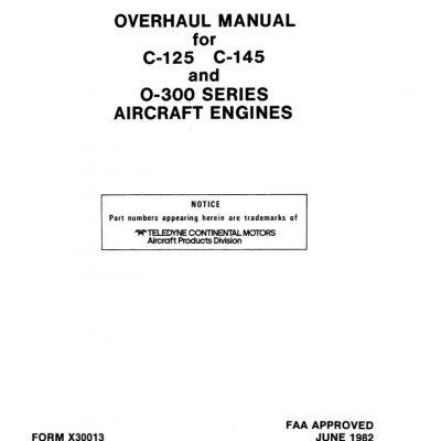 Continental Overhaul Manual X30022A O-470 /& IO-470