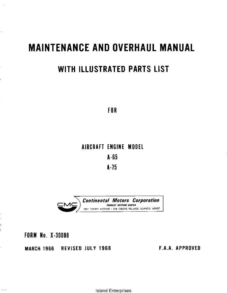 Continental A65 And A75 Aircraft Engine Maintenance Overhaul Manual And Parts List 1966 1968 Eaircraftmanuals Com