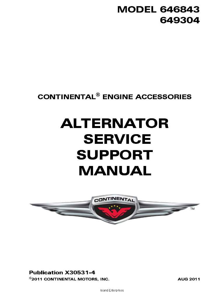 Continental Alternator Service Support Manual 646843 border=