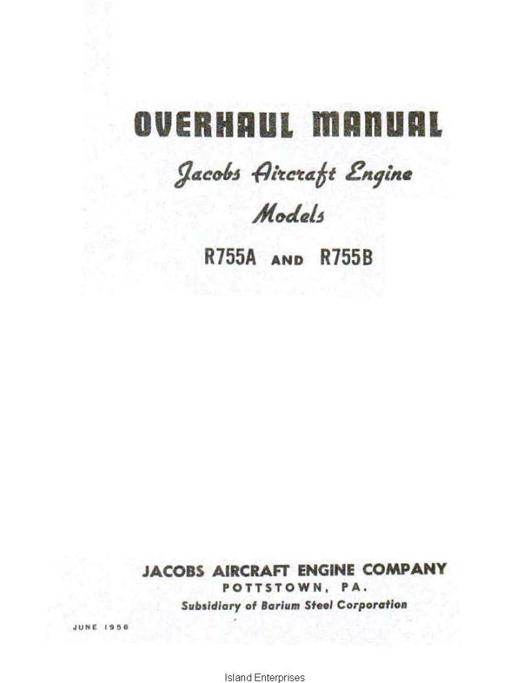 Jacobs R755A and R755B Aircraft Engine Overhaul Manual 1956