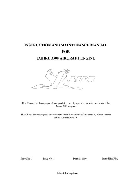 Jabiru 3300 Aircraft Engine Instruction and Maintenance Manual 2000