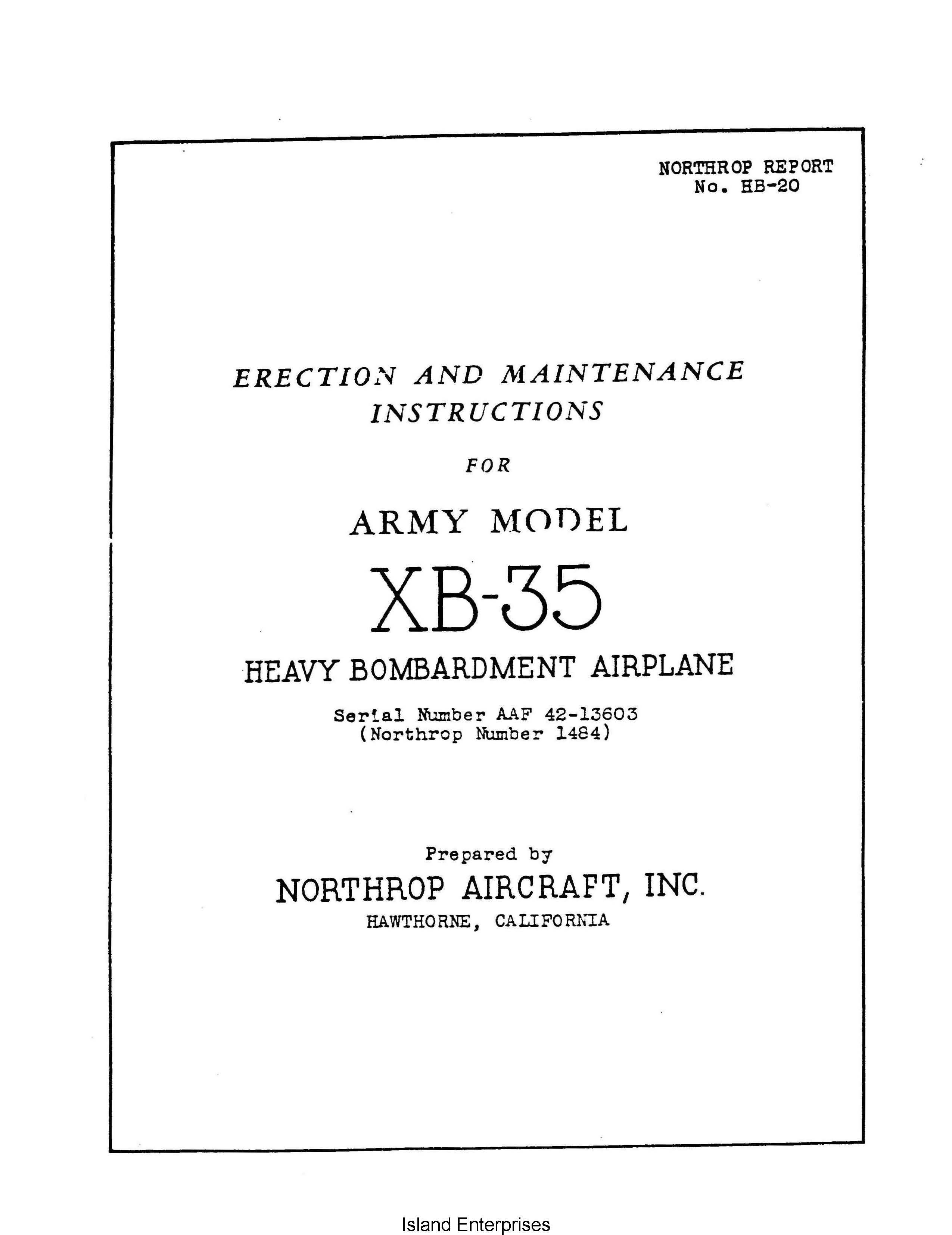 northrop xb 35 heavy bombardment airplane erection