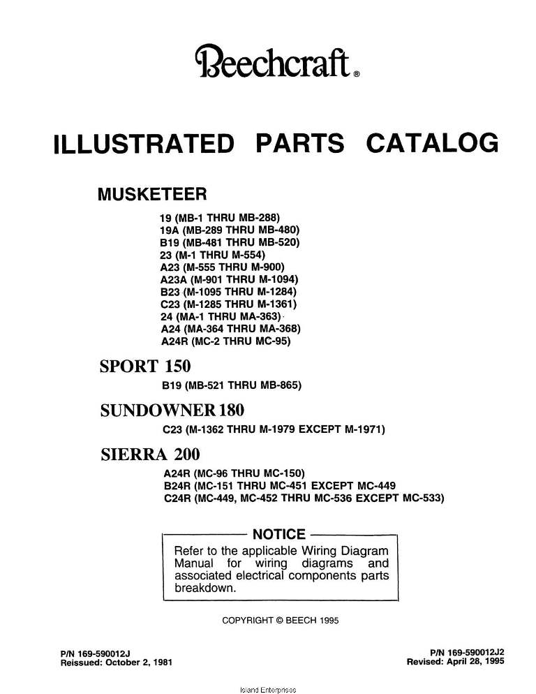 Beechcraft Musketer Sport 150, Sundowner 180, Sierra 200 Parts Catalog Rev   1995 169-590012J2