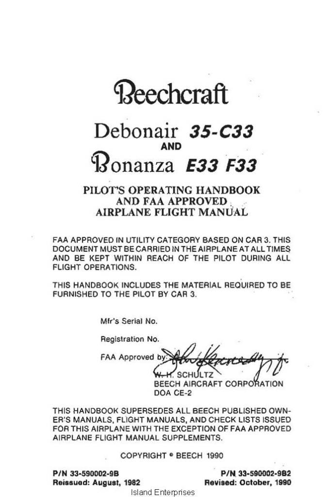 Beechcraft Debonair 35 C33 Bonanza E33 F33 Pilot S Operating Handboook 1982 1990 33 590002 9B2