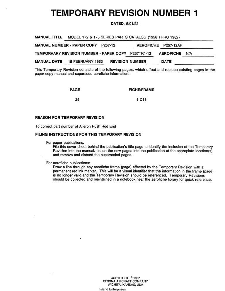 Cessna 172 Parts catalog Manual pdf