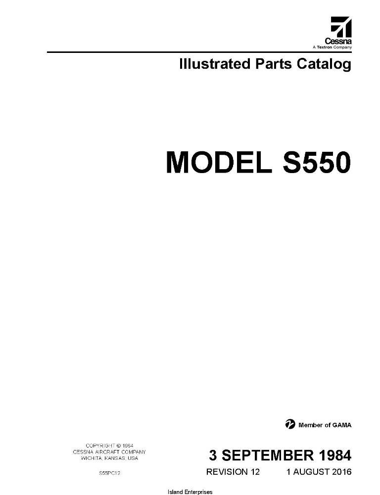 Cessna Model S550 Illustrated Parts Catalog S55PC12