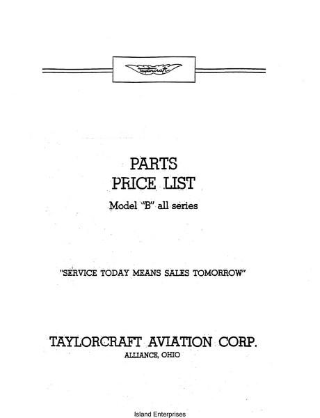 Taylorcraft Model Quot B Quot All Series Parts Price List