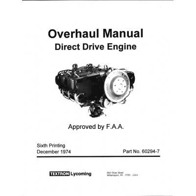 Lycoming Overhaul Manual 60294 7 14 Direct Drive Engine 235 290 320 340 360 540 720