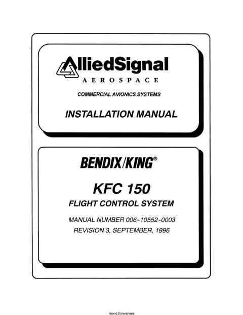 Bendix King KFC 150 Flight Control System Installation Manual 006 10552 0003