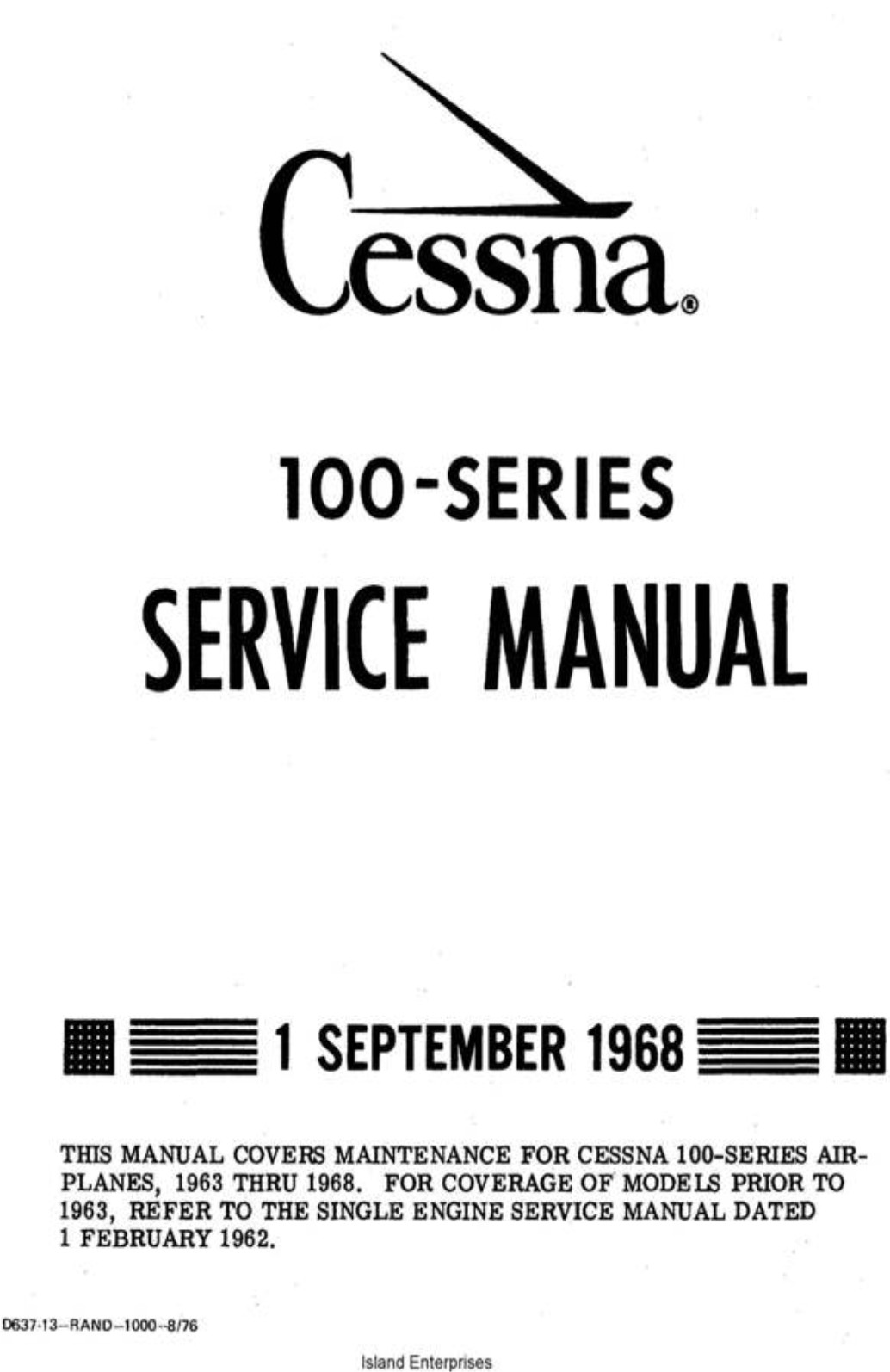 Cessna 100 Series Service Manual 1968 D637