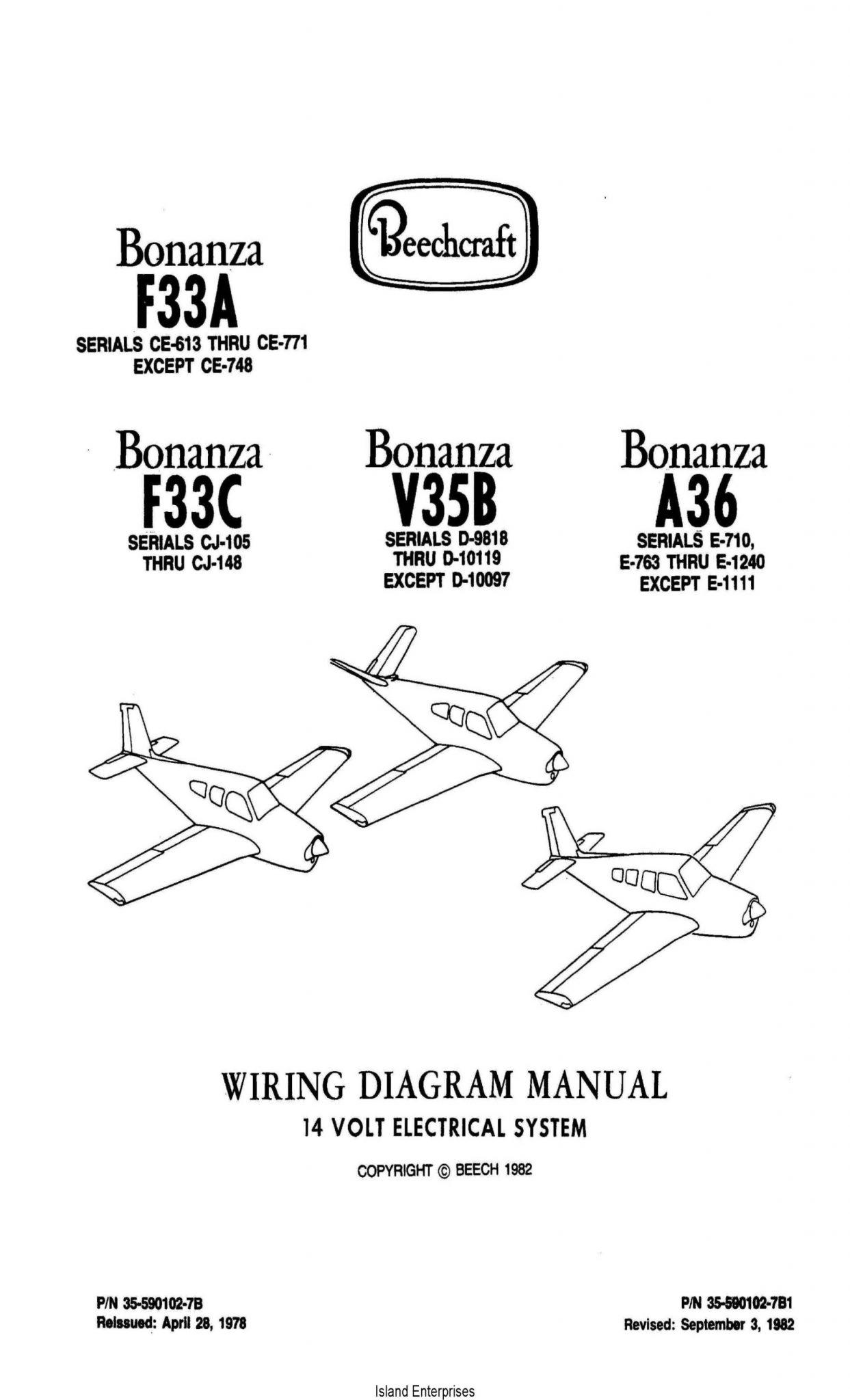 Beechcraft Bonanza F33a F33c V35b A36 14v Wiring Diagram Manual Rev 1982