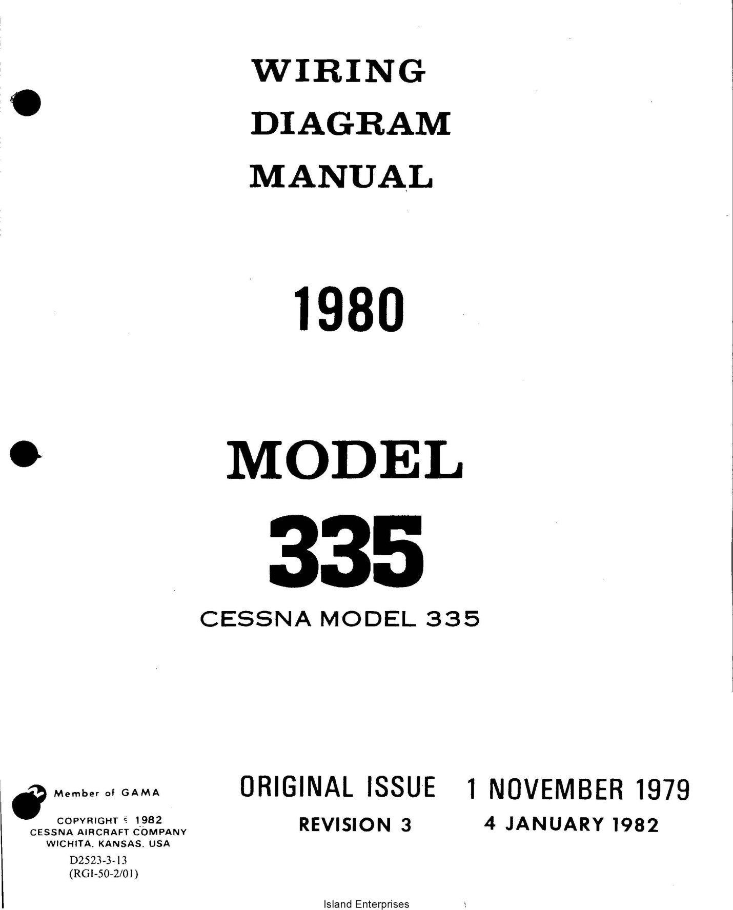 Cessna Model 335 Wiring Diagram Manual 1980 D2523