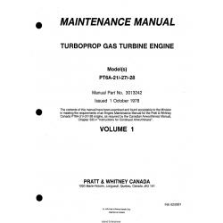 pratt whitney model pta    turboprop gas turbine engine maintenance manual